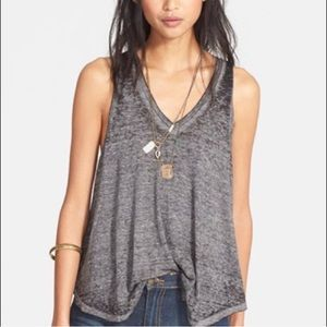Free People • Charcoal Burnout V-neck Tank Top